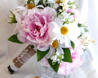 Silk peony bridal bouquet pink peonies creme roses and ranunculus, white daisies baby freeshia bouquet set