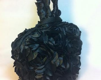 Black Purse, gothic bridal bag, gothic rose, gothic wedding bridal, money dance bag, black money bag, black wedding dance bag,  PP9X7-BRoses