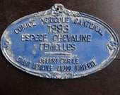 Vintage French agricultural farming beef cattle cow livestock winner blue metal prize trophy plaque agriculture farm 1993 / English Shop