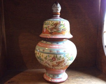 Vintage Portogese hand painted pastel lidded urn vase with dog and bird circa 1970's / English Shop