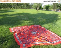 on sale Coral red square tablecloth Anatolian Grass Lawn Picnic Park Beach Yard Camp Yoga cloth Turkish traditional Ottoman tile print souve