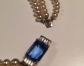 Vintage Faux Pearl Neclace Blue Rhinestone
