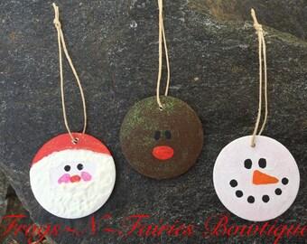 Painted Wood Glitter Christmas Ornaments ~ Set of 3 ~ Santa, Rudolph & Snowman