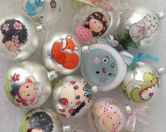 Hand Painted Glass Ball Ornament