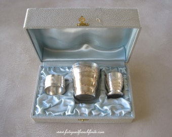 Vintage French 3 Piece Silverplate Christening Set in Original Box Egg Cup Cup Napkin Ring Duck Pattern