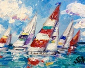 Sailboats Painting Sailing Painting seascape  original painting 6 x 6""