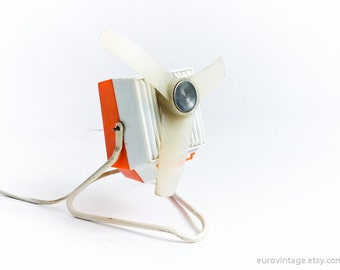 Vintage Small Electric Desk Fan Table Fan Orange Desk Fan 60s