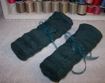 Travel Towel Roll - Toothbrush Travel Towel - Terry Toothbrush Pouch - Green Toothbrush Roll - FREE Shipping - Make Up Holder