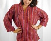 Vintage Guatemalan Ikat Cotton Hoodie Drug Rug Hippie Top Hand Loomed Hoodie