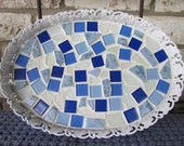 Vintage Vanity Tray with Genuine Sea Glass and Tile