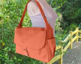 orange school bag, travel bag, crossbody bag, messenger bag, hand bag for men and women