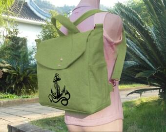 Grass green canvas backpack, travel bag, canvas messenger bag, shoulder bag, laptop bag