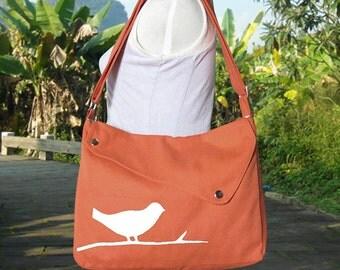 Orange cotton canvas  shoulder bag / bird messenger /messenger bag / diaper bag / cross body bag