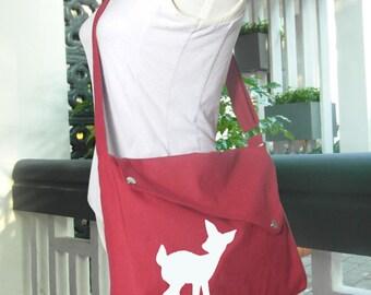 red cotton canvas messenger bag / shoulder bag / deer messenger /diaper bag / fawn sewn