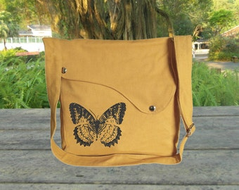 Yellow canvas shoulder bag, messenger bag, crossbody bag, travel bag with butterfuly printed, personalized screen print bag