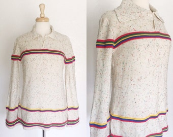 Vintage collared confetti knitted red, green, yellow, blue stripe sweater