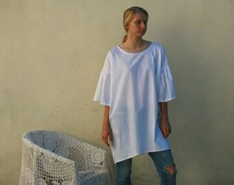 White linen dress, tunic, bell sleeves, oversized simple summer dress