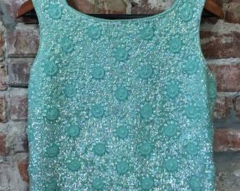 Vintage Bridal Bodice Silk Satin Teal Turquoise Sequin Beadwork