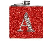 Red Flask with Personalized Rhinestone Initial, Sparkle Glitter Flask for Women, Stainless Steel 6oz Hip Flask