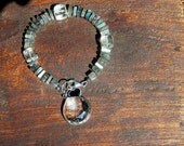 Labradorite Bracelet with Rock Crystal, Sterling Silver and Charms, Fall Bracelet, Autumn Jewelry