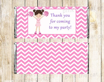 Cheerleader Candy Bar Wrappers Pink Chevron Girl Birthday Party Baby Shower Chocolate Label Decorations Printable Party Favors