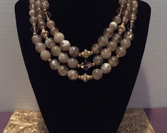 Vintage 1950's Triple Strand Beaded Necklace