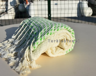 Turkishtowel-2016 Collection-HASIR-Hand woven,very soft,cotton and bambo,Bath,Beach,Travel,Wedding Towel-Neon Green stripes on Natural Cream
