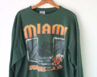 Vintage Miami HURRICANES Football Basketball Sweatshirt.....football. sports. sporty. miami. NFL. NBA. basketball. florida. 1970s 1980s