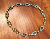 Art Deco 1930's Brass and Copper Tone Reef Knot Necklace