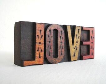 LOVE - 4 Vintage Letterpress Wood Type Blocks Collection - LP044