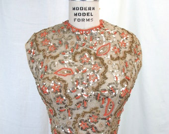 1950s Pat Sandler Gold Sequin Beaded Top