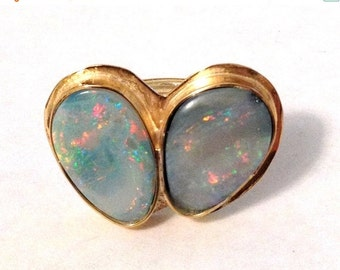 LOVE SALE Double Opal and 18kt gold vermeil Ring