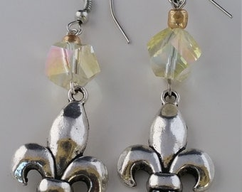 Yellow Crystal Vintage  Fleur-de-lis Earrings