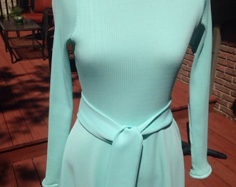Vintage Maxi Dress, seafoam green gown, 1979s long dress, long sleeved dress, mod look dress, Halloween or 70s party costume