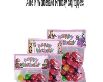 Discount Sale Alice in Wonderland printable  treat bag toppers Happy birthday birthday favors