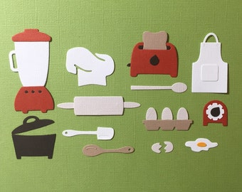13 Kitchen Cooking Food Die Cut Set for Scrapbooking Cards and Paper Crafts Embellishment