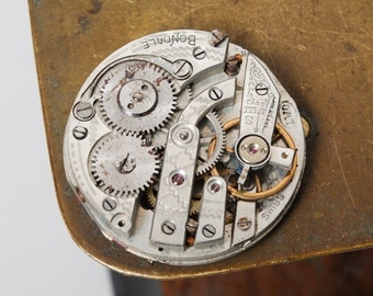 Antique Bondale watch movement, Swiss made mechanical watch part with porcelain dial