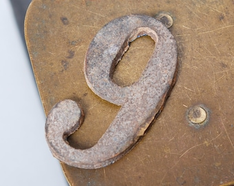 Antique brass part, plate, number 6 or 9, primitive finding