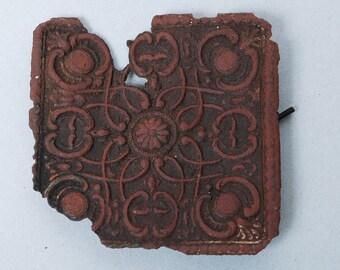 Antique brass plate, part of jewelry, original patina, filigree decor