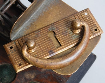 Antique solid brass key hope escutcheon plate with drawer pull handle. Steampunk style  (IL)