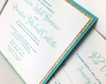 Teal and Gold Wedding Invitations