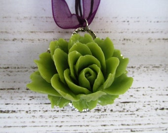 Lime Green and Purple Lotus Pendant Necklace with Bright Green Flower and Purple Organza Ribbon