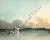 Thomas Girtin White House Watercolor Print, Chelsea Reach, England English, Vintage 9x13 Bookplate Art c1940s, FREE SHIPPING
