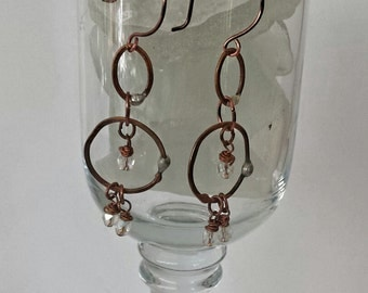 Antiqued Copper Chain Dangle Earrings with Translucent Beads