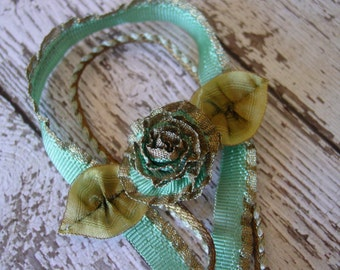 Handmade Ribbonwork piece and Antique Trim, made of ANTIQUE trimmings, One of a Kind