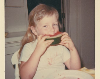 1960's Young girl eating watermelon vintage children photo.Eat 2.Cute