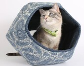 Modern Hexagonal Cat Bed the Cat Ball in Ivory and Blue Paisley Fabric