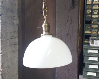 Vintage hanging fixture, white glass globe fixture, vintage lighting
