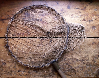 Vintage Large Fishing Net on Pole - Great Nautical Decor