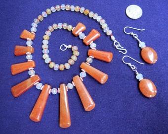 Sunshine Necklace in Peach Aventurine, Quartz, & Sterling w Earrings